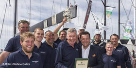 The winning team of 2015 Rolex Sydney Hobart Yacht race